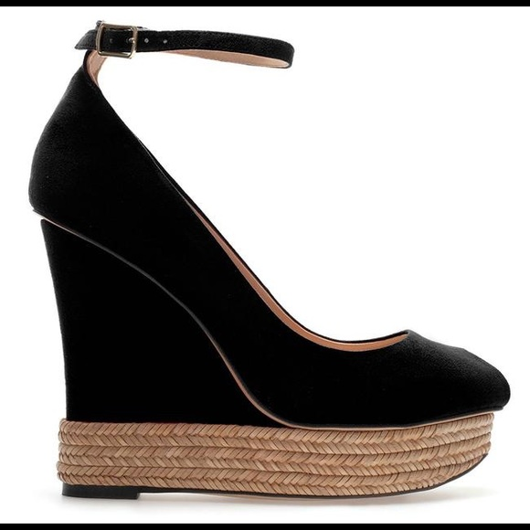 Zara Covered Peep Toe Ankle Strap Platform Wedges